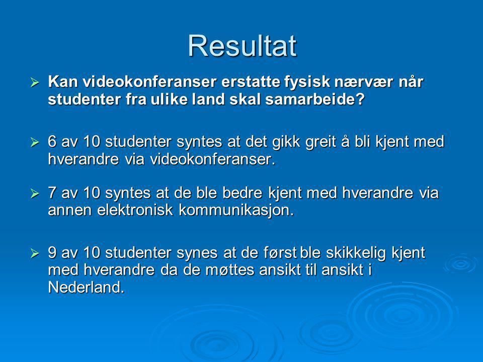 Resultat  Kan videokonferanser erstatte fysisk nærvær når studenter fra ulike land skal samarbeide.