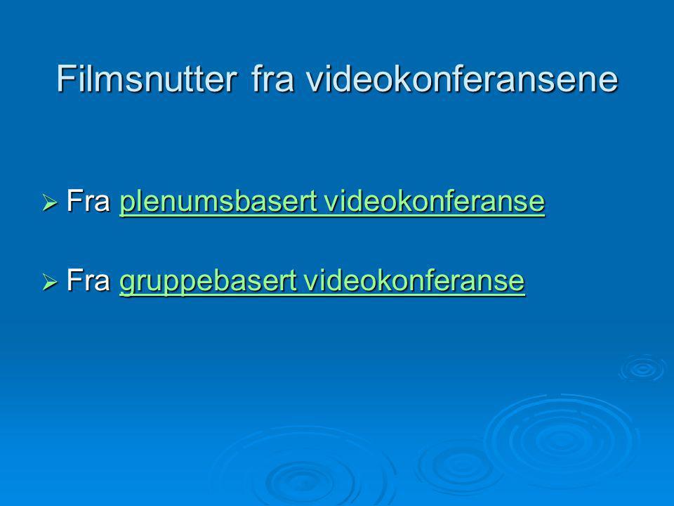 Filmsnutter fra videokonferansene  Fra plenumsbasert videokonferanse plenumsbasert videokonferanseplenumsbasert videokonferanse  Fra gruppebasert videokonferanse gruppebasert videokonferansegruppebasert videokonferanse