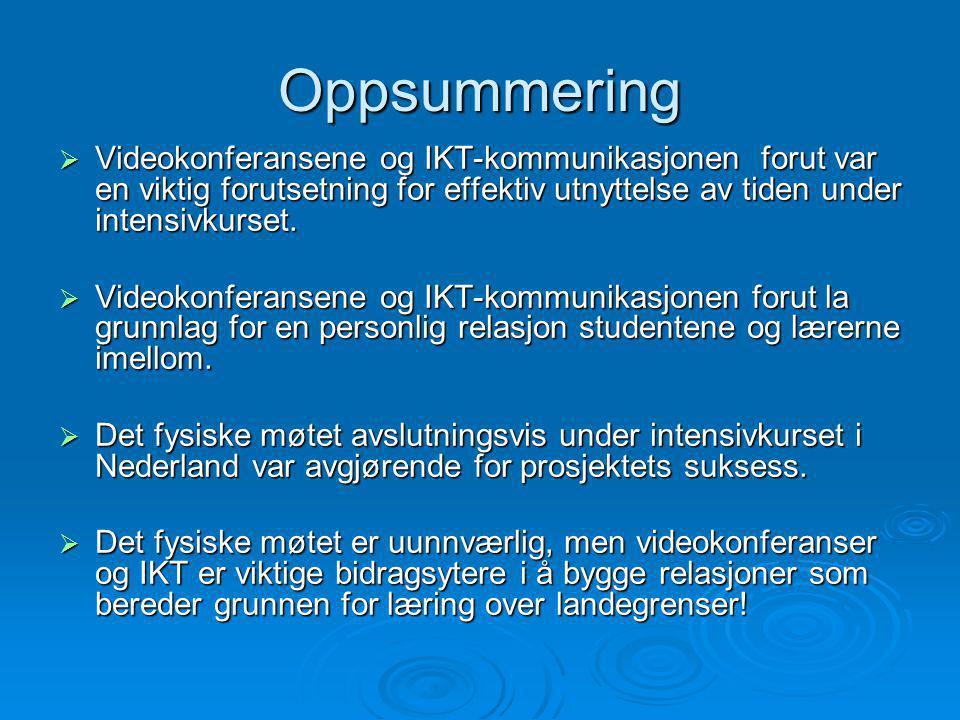 Oppsummering  Videokonferansene og IKT-kommunikasjonen forut var en viktig forutsetning for effektiv utnyttelse av tiden under intensivkurset.  Vide