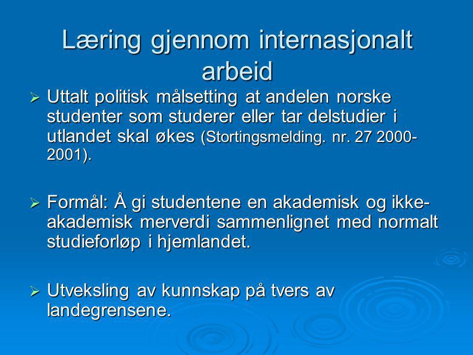 Læring gjennom internasjonalt arbeid  Uttalt politisk målsetting at andelen norske studenter som studerer eller tar delstudier i utlandet skal økes (