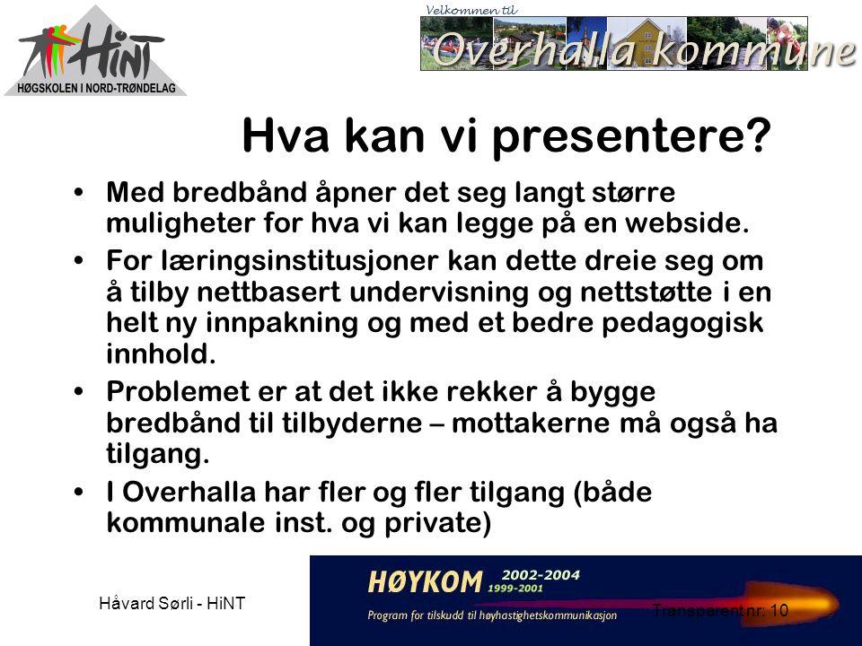Håvard Sørli - HiNT Transparent nr: 10 Hva kan vi presentere.