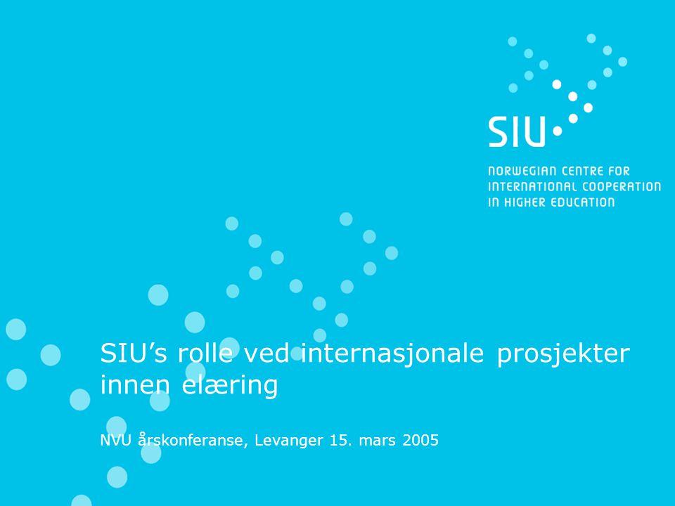 SIU's rolle ved internasjonale prosjekter innen elæring NVU årskonferanse, Levanger 15. mars 2005