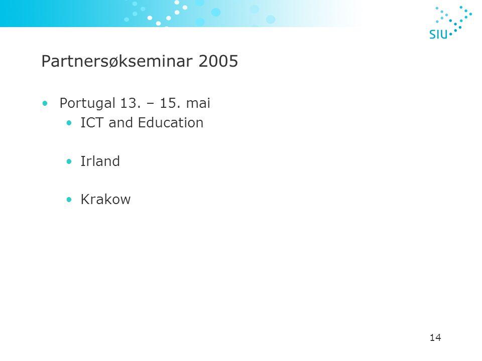 14 Partnersøkseminar 2005 Portugal 13. – 15. mai ICT and Education Irland Krakow
