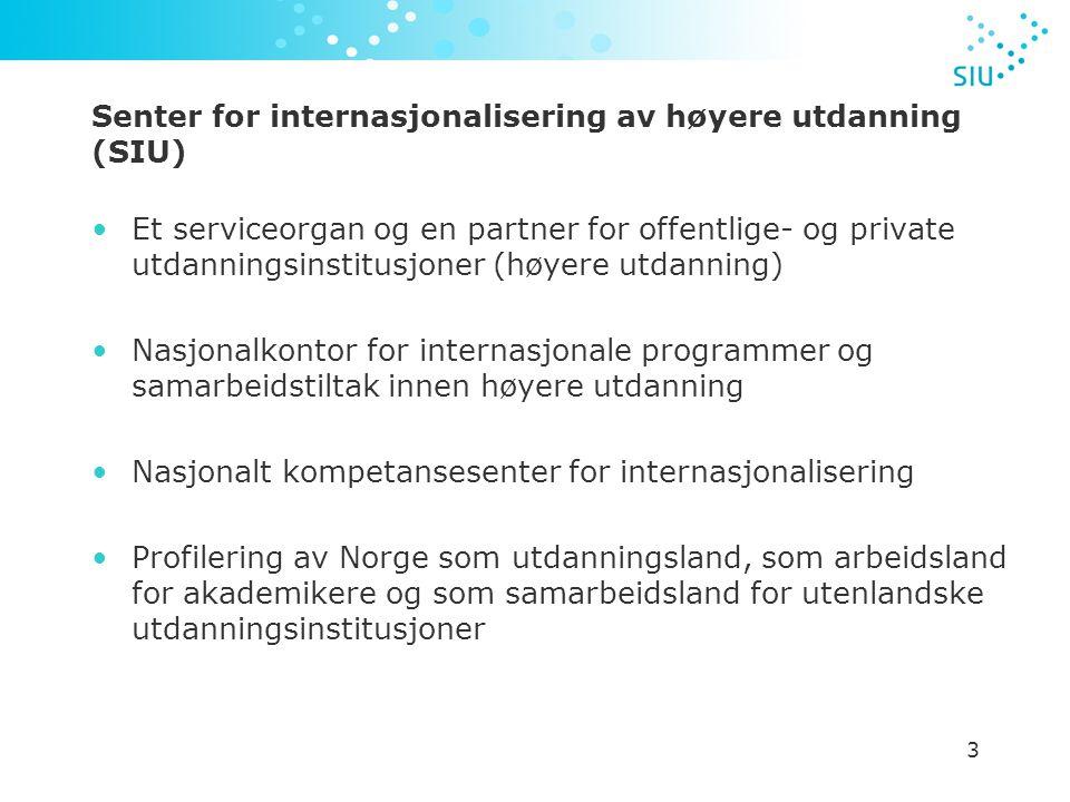 3 Senter for internasjonalisering av høyere utdanning (SIU) Et serviceorgan og en partner for offentlige- og private utdanningsinstitusjoner (høyere utdanning) Nasjonalkontor for internasjonale programmer og samarbeidstiltak innen høyere utdanning Nasjonalt kompetansesenter for internasjonalisering Profilering av Norge som utdanningsland, som arbeidsland for akademikere og som samarbeidsland for utenlandske utdanningsinstitusjoner