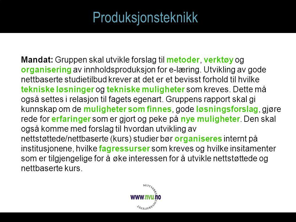 Produksjonsteknikk Mandat: Gruppen skal utvikle forslag til metoder, verktøy og organisering av innholdsproduksjon for e-læring.
