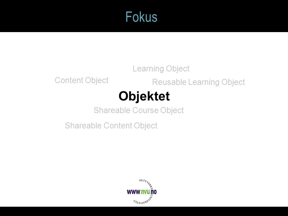 Fokus Objektet Learning Object Reusable Learning Object Shareable Content Object Content Object Shareable Course Object