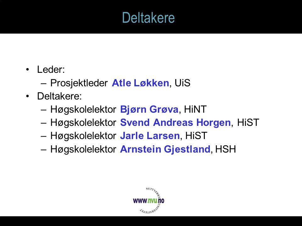 Deltakere Leder: –Prosjektleder Atle Løkken, UiS Deltakere: –Høgskolelektor Bjørn Grøva, HiNT –Høgskolelektor Svend Andreas Horgen, HiST –Høgskolelektor Jarle Larsen, HiST –Høgskolelektor Arnstein Gjestland, HSH