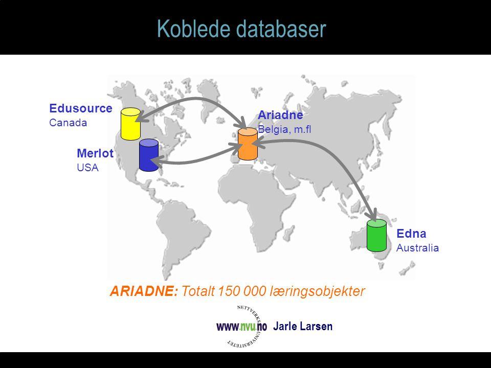 Koblede databaser Edna Australia Ariadne Belgia, m.fl Merlot USA Edusource Canada ARIADNE: Totalt 150 000 læringsobjekter Jarle Larsen