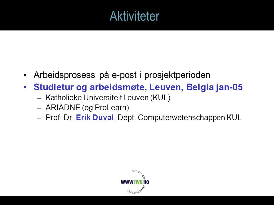 Aktiviteter Arbeidsprosess på e-post i prosjektperioden Studietur og arbeidsmøte, Leuven, Belgia jan-05 –Katholieke Universiteit Leuven (KUL) –ARIADNE (og ProLearn) –Prof.