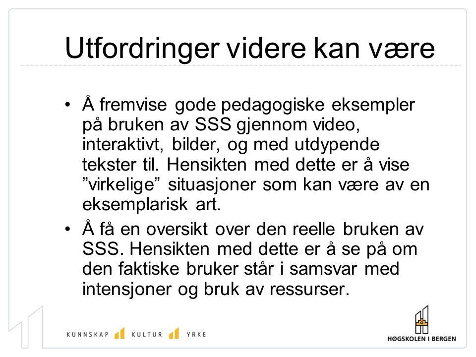 Utfordringer videre kan være Å fremvise gode pedagogiske eksempler på bruken av SSS gjennom video, interaktivt, bilder, og med utdypende tekster til.