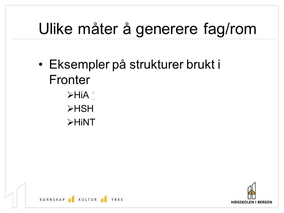 Ulike måter å generere fag/rom Eksempler på strukturer brukt i Fronter  HiA **  HSH  HiNT