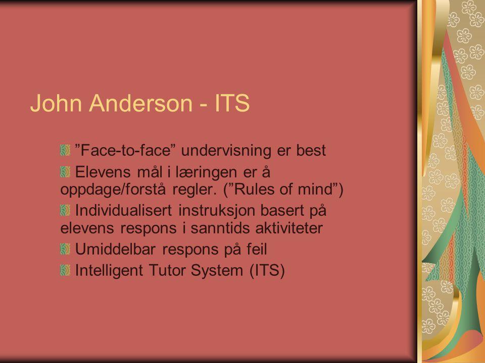 """John Anderson - ITS """"Face-to-face"""" undervisning er best Elevens mål i læringen er å oppdage/forstå regler. (""""Rules of mind"""") Individualisert instruksj"""