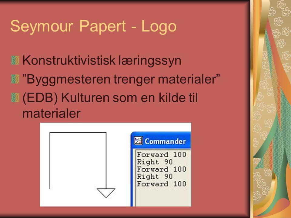 """Seymour Papert - Logo Konstruktivistisk læringssyn """"Byggmesteren trenger materialer"""" (EDB) Kulturen som en kilde til materialer"""