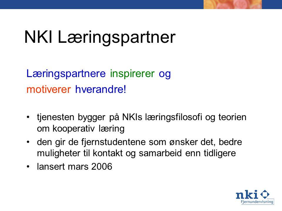 NKI Læringspartner Læringspartnere inspirerer og motiverer hverandre! tjenesten bygger på NKIs læringsfilosofi og teorien om kooperativ læring den gir
