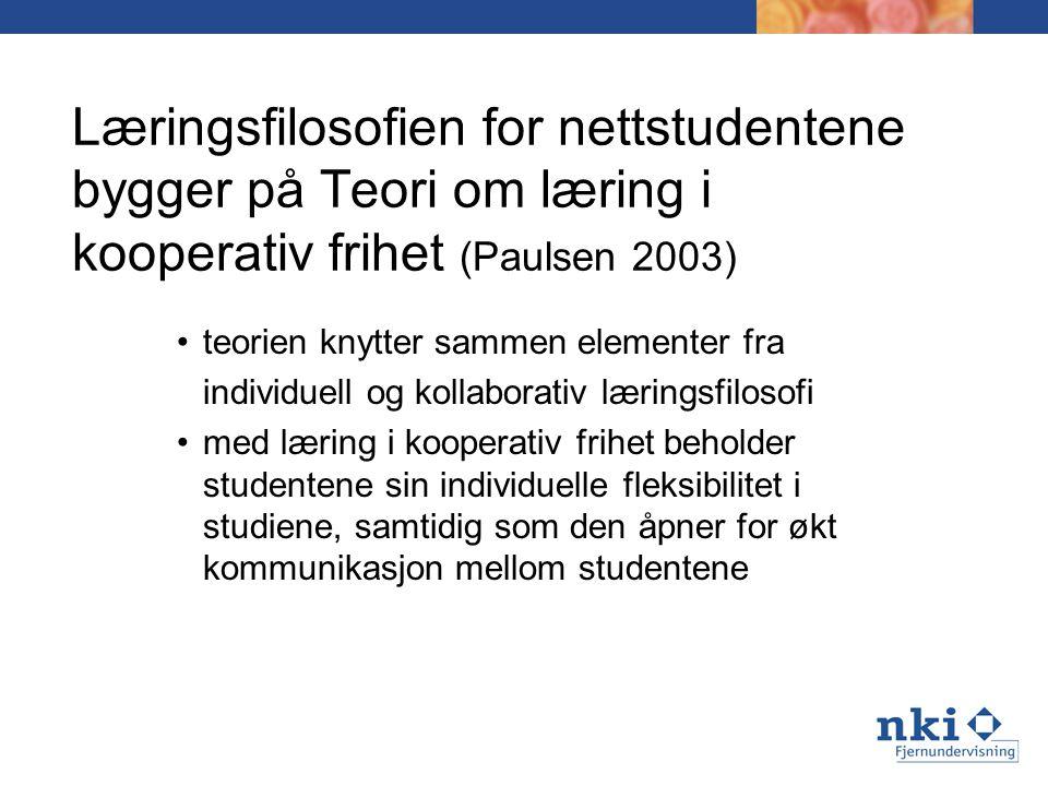 Læringsfilosofien for nettstudentene bygger på Teori om læring i kooperativ frihet (Paulsen 2003) teorien knytter sammen elementer fra individuell og