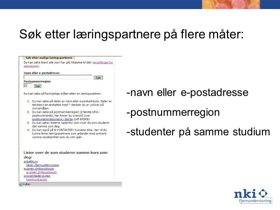Søk etter læringspartnere på flere måter: -navn eller e-postadresse -postnummerregion -studenter på samme studium
