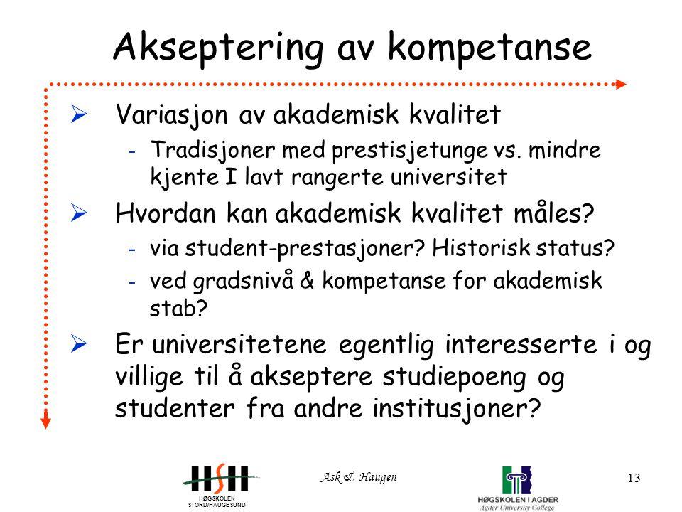 HØGSKOLEN STORD/HAUGESUND Ask & Haugen 13 Akseptering av kompetanse  Variasjon av akademisk kvalitet - Tradisjoner med prestisjetunge vs.