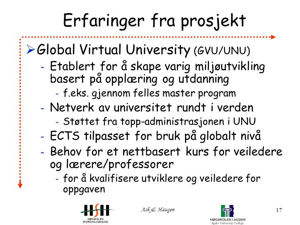 HØGSKOLEN STORD/HAUGESUND Ask & Haugen 17 Erfaringer fra prosjekt  Global Virtual University (GVU/UNU) - Etablert for å skape varig miljøutvikling basert på opplæring og utdanning - f.eks.