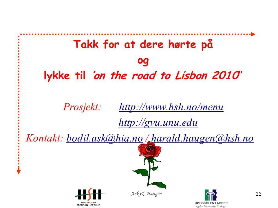 HØGSKOLEN STORD/HAUGESUND Ask & Haugen 22 Takk for at dere hørte på og lykke til 'on the road to Lisbon 2010'' Prosjekt: http://www.hsh.no/menuhttp://www.hsh.no/menu http://gvu.unu.edu Kontakt: bodil.ask@hia.no / harald.haugen@hsh.nobodil.ask@hia.noharald.haugen@hsh.no