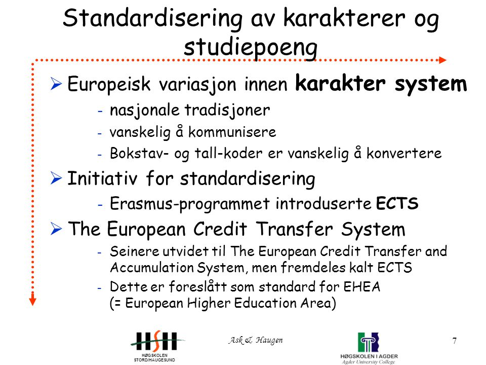 HØGSKOLEN STORD/HAUGESUND Ask & Haugen 7 Standardisering av karakterer og studiepoeng  Europeisk variasjon innen karakter system - nasjonale tradisjoner - vanskelig å kommunisere - Bokstav- og tall-koder er vanskelig å konvertere  Initiativ for standardisering - Erasmus-programmet introduserte ECTS  The European Credit Transfer System - Seinere utvidet til The European Credit Transfer and Accumulation System, men fremdeles kalt ECTS - Dette er foreslått som standard for EHEA (= European Higher Education Area)