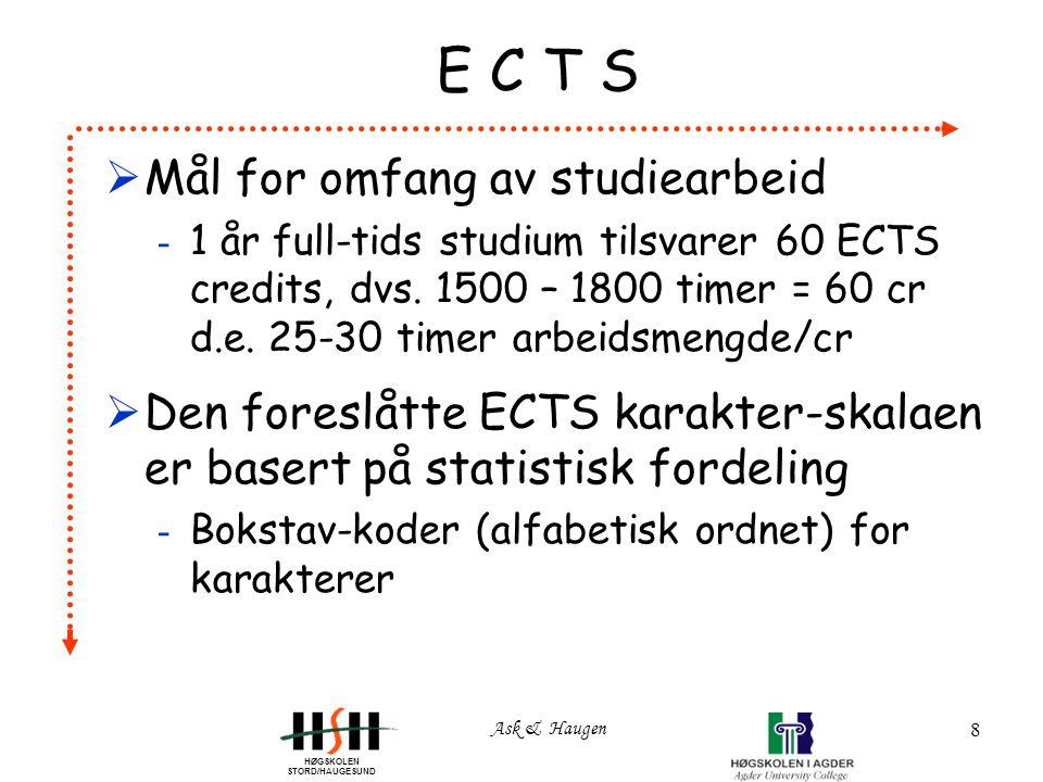 HØGSKOLEN STORD/HAUGESUND Ask & Haugen 8 E C T S  Mål for omfang av studiearbeid - 1 år full-tids studium tilsvarer 60 ECTS credits, dvs.