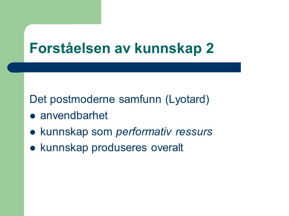 Forståelsen av kunnskap 2 Det postmoderne samfunn (Lyotard) anvendbarhet kunnskap som performativ ressurs kunnskap produseres overalt