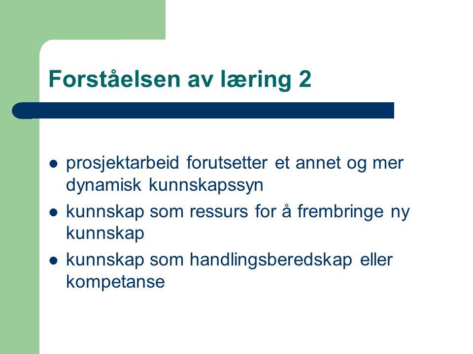 Forståelsen av læring 3 Kultur for læring (St.meld.