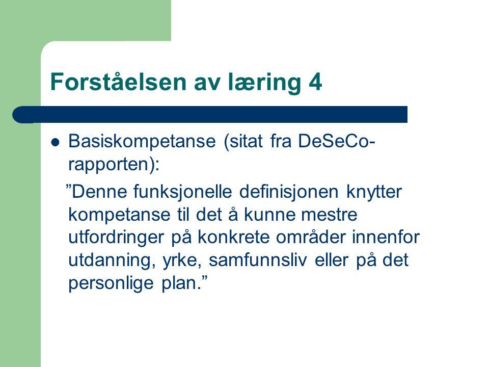 Forståelsen av læring 4 Basiskompetanse (sitat fra DeSeCo- rapporten): Denne funksjonelle definisjonen knytter kompetanse til det å kunne mestre utfordringer på konkrete områder innenfor utdanning, yrke, samfunnsliv eller på det personlige plan.
