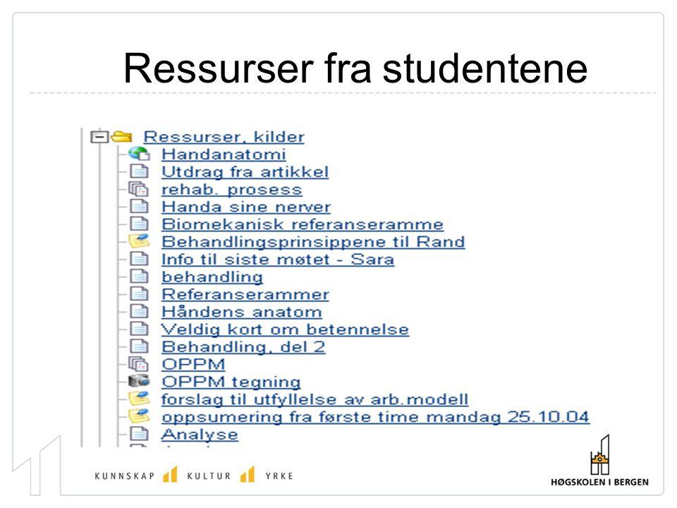 Ressurser fra studentene