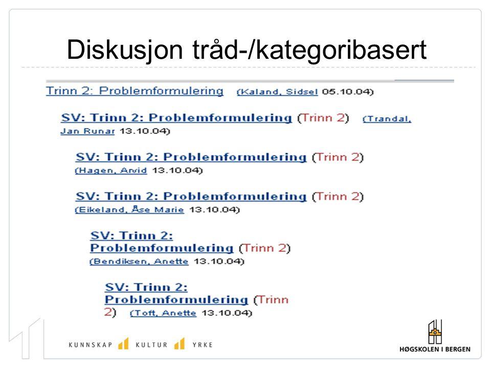 Diskusjon tråd-/kategoribasert