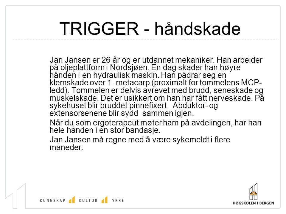 TRIGGER - håndskade Jan Jansen er 26 år og er utdannet mekaniker. Han arbeider på oljeplattform i Nordsjøen. En dag skader han høyre hånden i en hydra