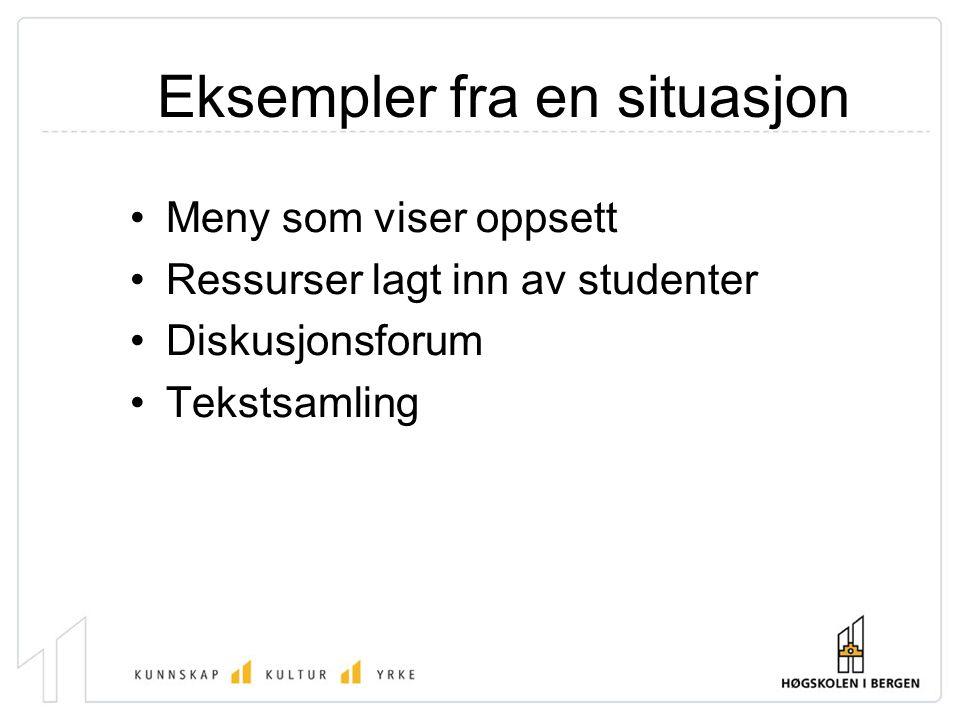 Eksempler fra en situasjon Meny som viser oppsett Ressurser lagt inn av studenter Diskusjonsforum Tekstsamling