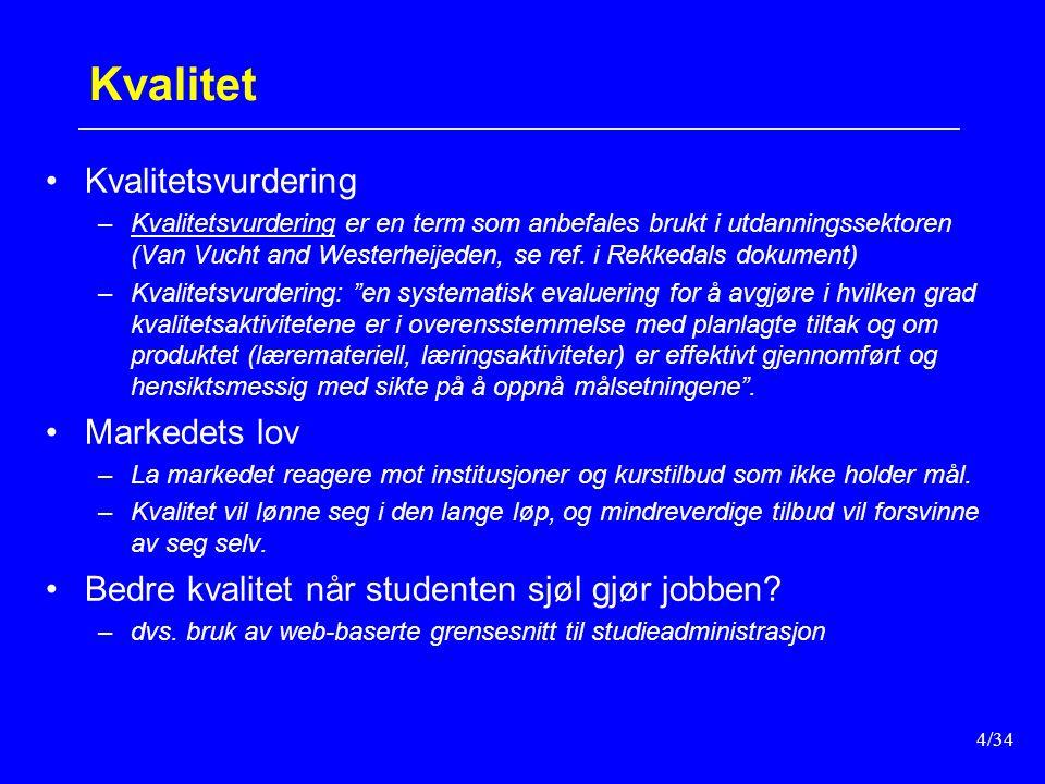 4/34 Kvalitet Kvalitetsvurdering –Kvalitetsvurdering er en term som anbefales brukt i utdanningssektoren (Van Vucht and Westerheijeden, se ref.