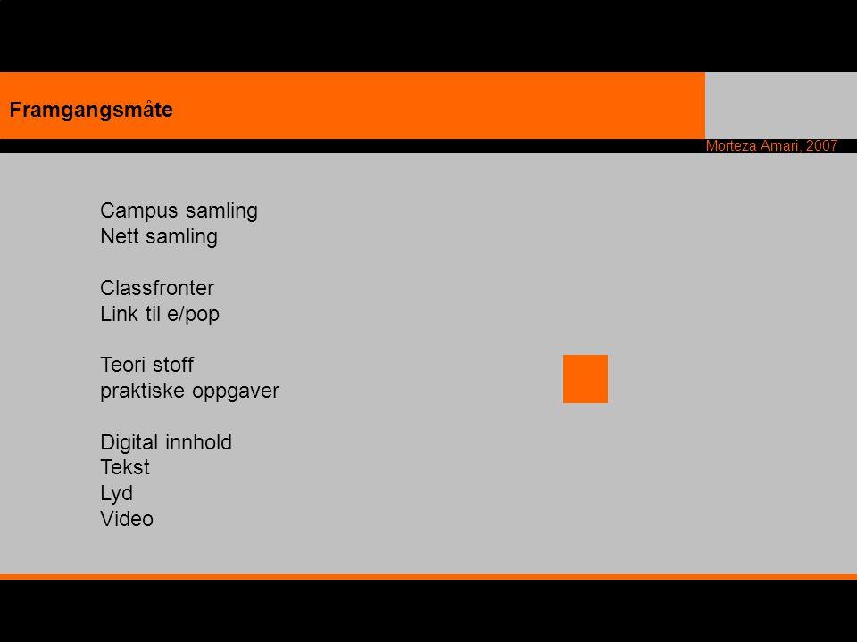 Morteza Amari, 2007 Campus samling Nett samling Classfronter Link til e/pop Teori stoff praktiske oppgaver Digital innhold Tekst Lyd Video Framgangsmå