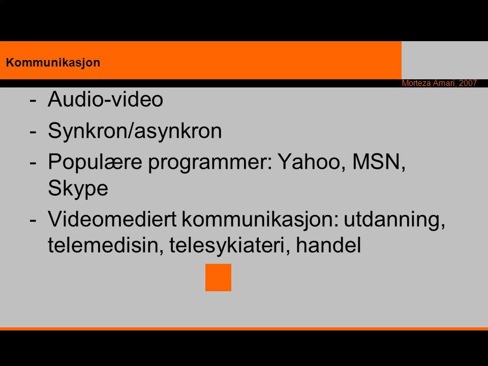 Morteza Amari, 2007 -Audio-video -Synkron/asynkron -Populære programmer: Yahoo, MSN, Skype -Videomediert kommunikasjon: utdanning, telemedisin, telesy