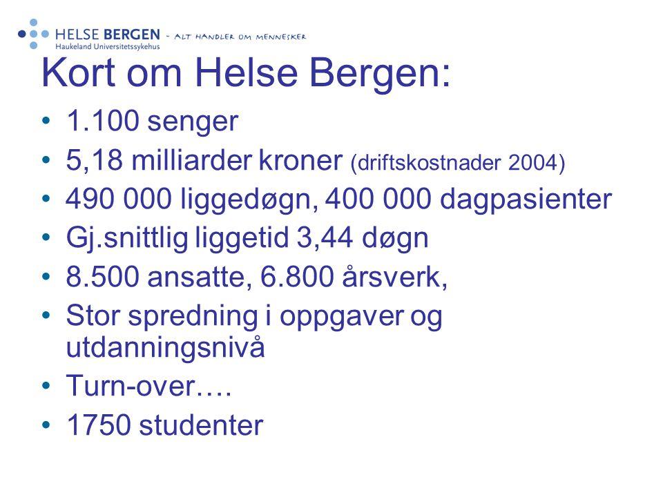 Kort om Helse Bergen: 1.100 senger 5,18 milliarder kroner (driftskostnader 2004) 490 000 liggedøgn, 400 000 dagpasienter Gj.snittlig liggetid 3,44 døg