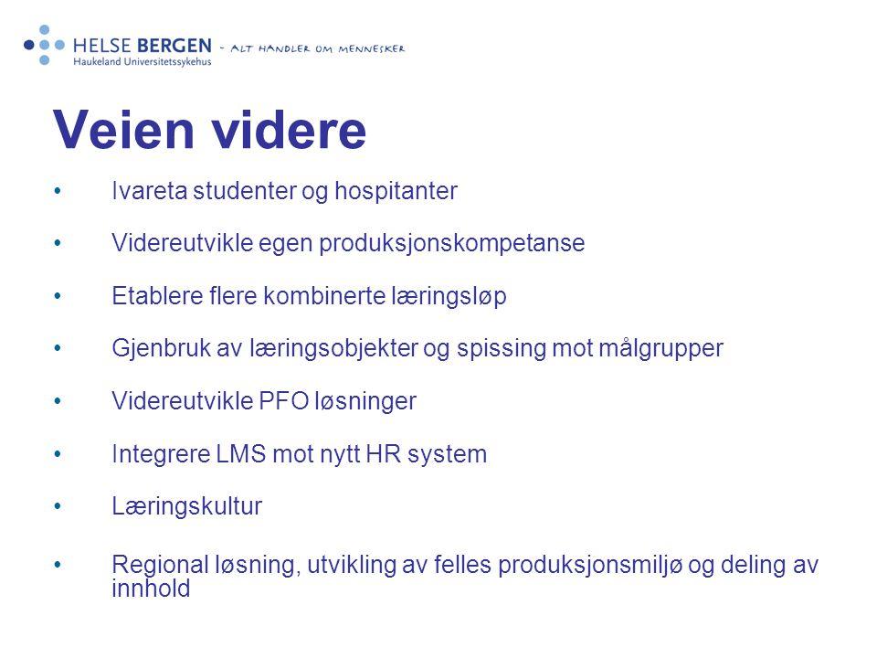 Veien videre Ivareta studenter og hospitanter Videreutvikle egen produksjonskompetanse Etablere flere kombinerte læringsløp Gjenbruk av læringsobjekte