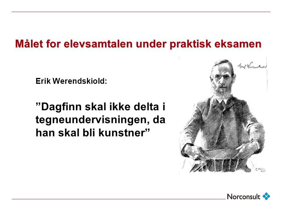 Målet for elevsamtalen under praktisk eksamen Erik Werendskiold: Dagfinn skal ikke delta i tegneundervisningen, da han skal bli kunstner