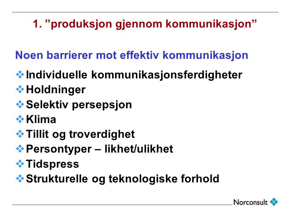 """1. """"produksjon gjennom kommunikasjon"""" Noen barrierer mot effektiv kommunikasjon  Individuelle kommunikasjonsferdigheter  Holdninger  Selektiv perse"""