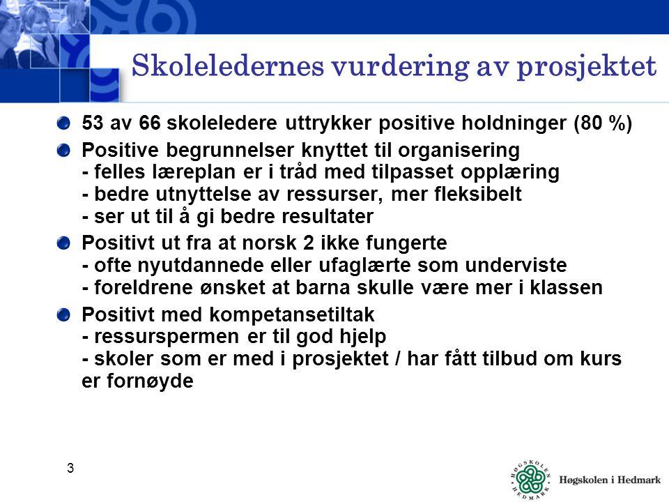3 Skoleledernes vurdering av prosjektet 53 av 66 skoleledere uttrykker positive holdninger (80 %) Positive begrunnelser knyttet til organisering - felles læreplan er i tråd med tilpasset opplæring - bedre utnyttelse av ressurser, mer fleksibelt - ser ut til å gi bedre resultater Positivt ut fra at norsk 2 ikke fungerte - ofte nyutdannede eller ufaglærte som underviste - foreldrene ønsket at barna skulle være mer i klassen Positivt med kompetansetiltak - ressurspermen er til god hjelp - skoler som er med i prosjektet / har fått tilbud om kurs er fornøyde