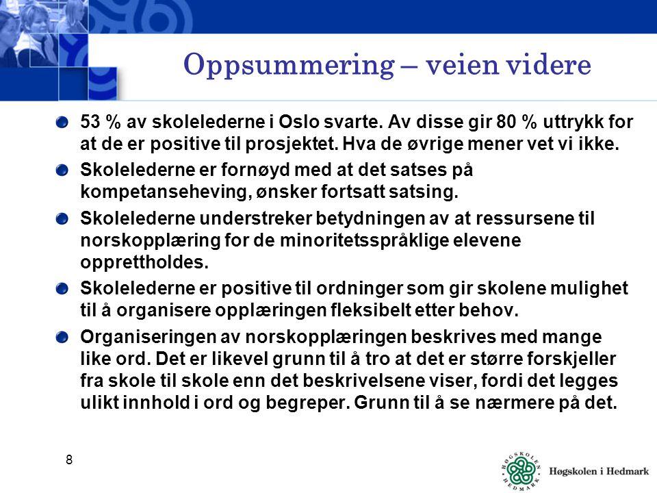 8 Oppsummering – veien videre 53 % av skolelederne i Oslo svarte.