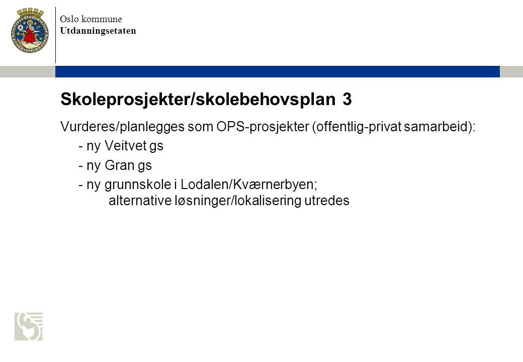 Oslo kommune Utdanningsetaten Skoleprosjekter/skolebehovsplan 3 Vurderes/planlegges som OPS-prosjekter (offentlig-privat samarbeid): - ny Veitvet gs - ny Gran gs - ny grunnskole i Lodalen/Kværnerbyen; alternative løsninger/lokalisering utredes