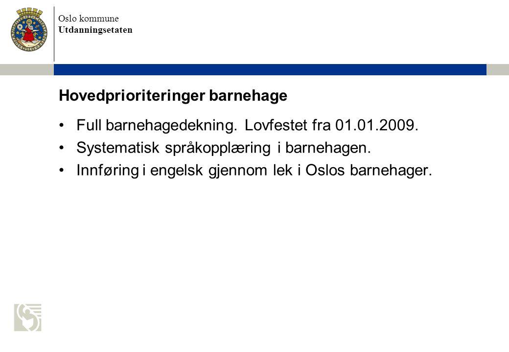Oslo kommune Utdanningsetaten Hovedprioriteringer barnehage Full barnehagedekning.