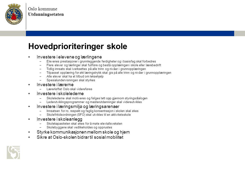 Oslo kommune Utdanningsetaten Andre målsettinger - skole Alle skal lære mer –Flest mulig skal lære minst to fremmedspråk allerede fra 5.