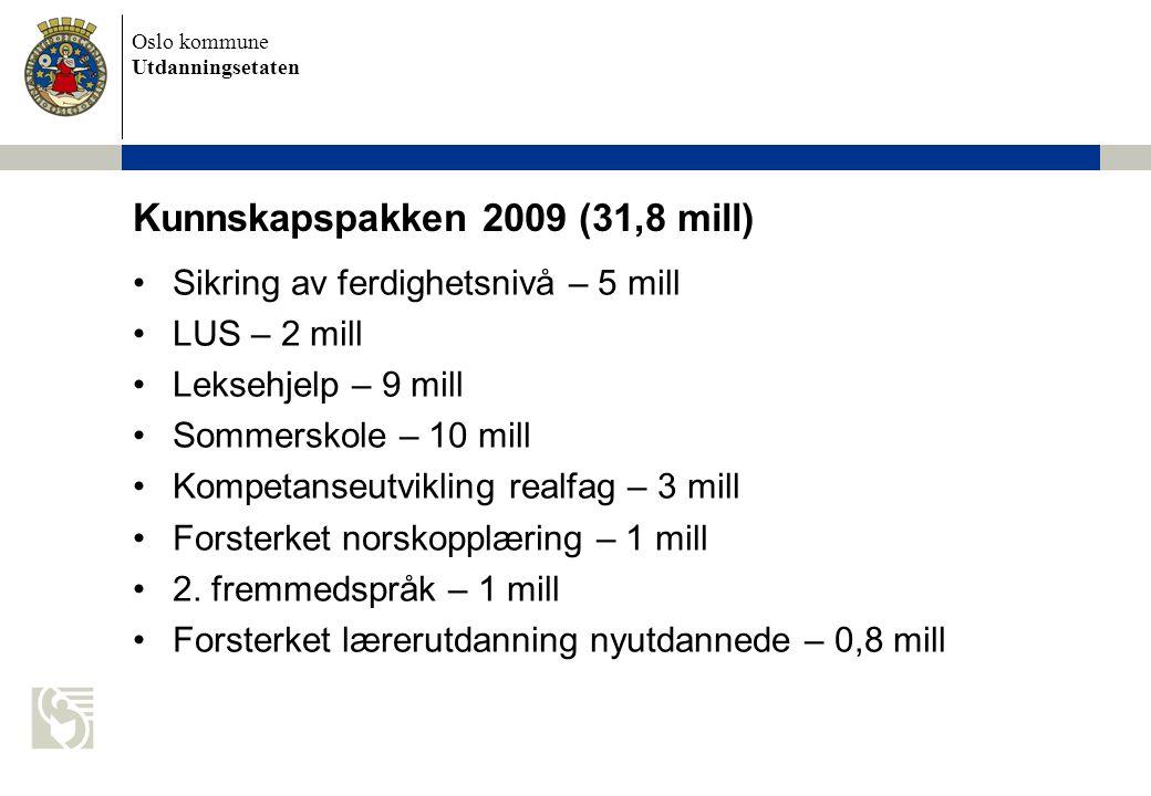 Oslo kommune Utdanningsetaten Kunnskapspakken 2009 (31,8 mill) Sikring av ferdighetsnivå – 5 mill LUS – 2 mill Leksehjelp – 9 mill Sommerskole – 10 mill Kompetanseutvikling realfag – 3 mill Forsterket norskopplæring – 1 mill 2.