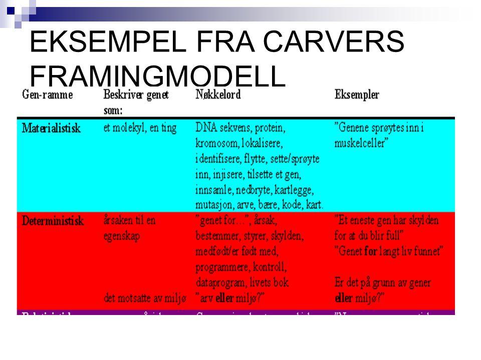 EKSEMPEL FRA CARVERS FRAMINGMODELL