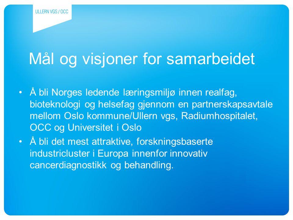 Mål og visjoner for samarbeidet Å bli Norges ledende læringsmiljø innen realfag, bioteknologi og helsefag gjennom en partnerskapsavtale mellom Oslo ko