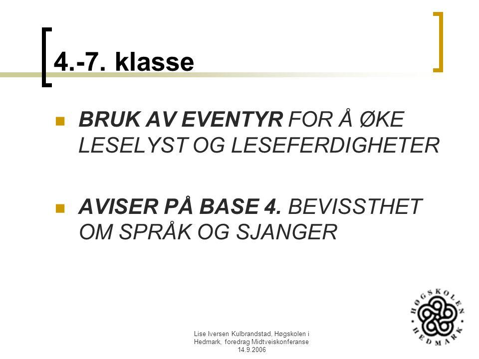 Lise Iversen Kulbrandstad, Høgskolen i Hedmark, foredrag Midtveiskonferanse 14.9.2006 4.-7. klasse BRUK AV EVENTYR FOR Å ØKE LESELYST OG LESEFERDIGHET