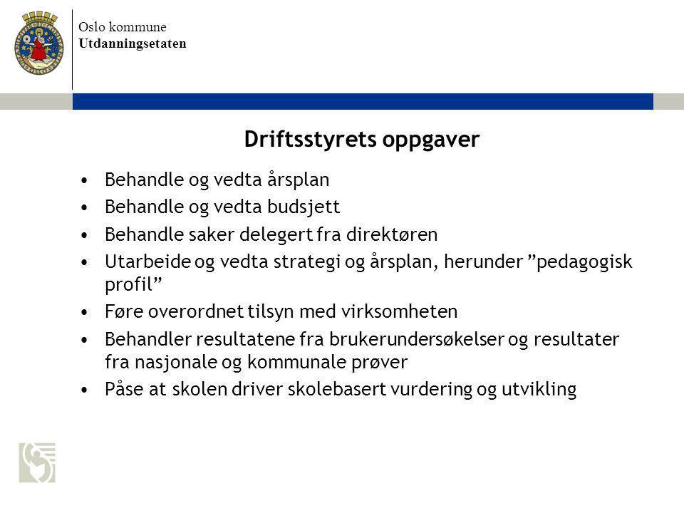 Oslo kommune Utdanningsetaten Driftsstyrets oppgaver Behandle og vedta årsplan Behandle og vedta budsjett Behandle saker delegert fra direktøren Utarb