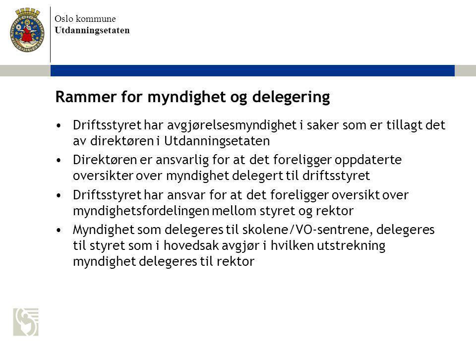 Oslo kommune Utdanningsetaten Rammer for myndighet og delegering Driftsstyret har avgjørelsesmyndighet i saker som er tillagt det av direktøren i Utda